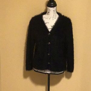 NWT Lg Pie in The Sky Black Soft Fluffy Sweater